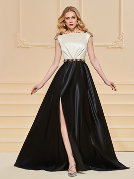 A Line Cap Sleeve Beaded Side Slit Prom Dress