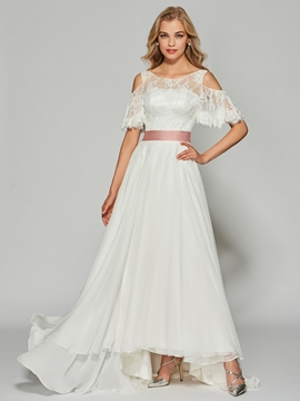 A Line Half Sleeve Long Lace Prom Dress With Bowknot