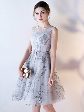 A-Line Lace-Up Sleeveless Knee Length Bridesmaid Dress