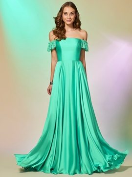 A Line Off The Shoulder Floor Length Prom Dress