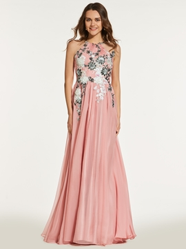 A Line Scoop Neck Sequin Applique Backless Prom Dress