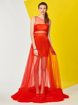 A Line Scoop Neck Sheer Long Prom Dress