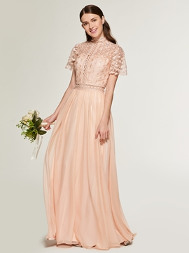 A Line Short Sleeves Lace Long Bridesmaid Dress