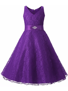 A-Line Sleeveless Lace V-Neck Flower Girl Party Dress