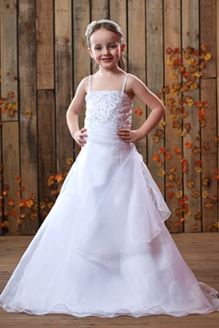 A-Line Spaghetti Straps Floor-Length Satin Flower Girls Dress