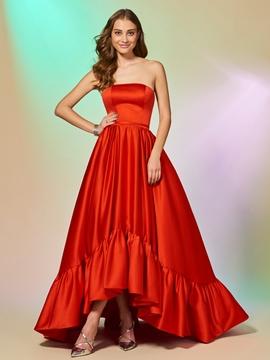 A Line Strapless High Low Asymmetry Evening Dress