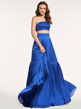 A Line Strapless Two Pieces Crop Top Prom Dress
