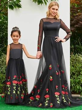 A Line Tulle Appliques Black Flower Girl Party Dress
