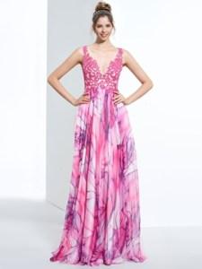 A-Line V-Neck Appliques Printed Sweep Train Prom Dress