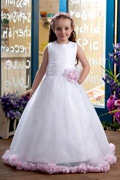 A-line Scoop Floor-Length Flower Girl Dress