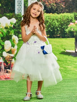 Appliques Ball Gown Tulle Tea Length Flower Girl Dress
