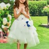 Appliques Ball Gown Tulle Tea Length Flower Girl Dress
