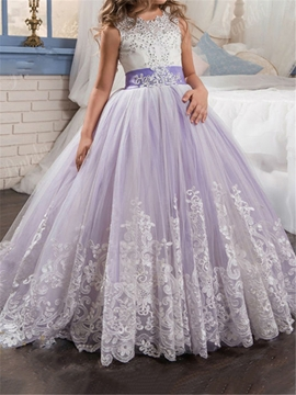 Appliques Beaded Ball Gown Bowknot Flower Girl Dress