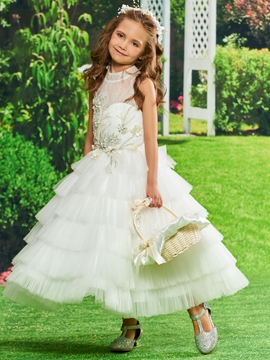Appliques Tulle Ball Gown Flower Girl Dress