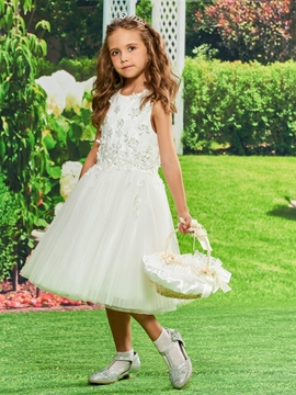 Ball Gown Knee Length Tulle Flower Girl Dress