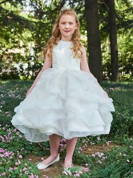 Ball Gown Lace Tea Length Flower Girl Dress