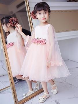Ball Gown Long Sleeves Knee Length Flower Girl Dress