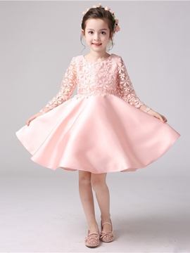 Ball Gown Long Sleeves Knee Length Flower Girl Party Dress