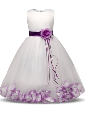 Ball Gown Tulle Ankle-Length Flower Girl Party Dress