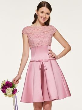 Bateau Neck Lace A Line Bridesmaid Dress