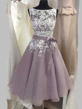Beautiful Bateau A Line Tea Length Bridesmaid Dress