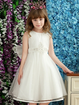 Beautiful Beaded Bowknot A Line Flower Girl Dress