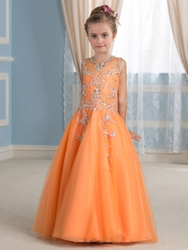 Beautiful Beading Jewel Sleeveless A Line Flower Girl Dress