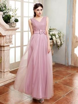 Beautiful Bowknot V Neck A Line Bridesmaid Dress
