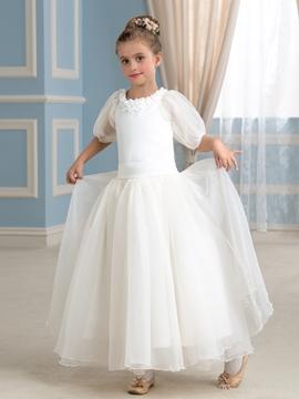 Beautiful Half Sleeves A Line Flower Girl Dress