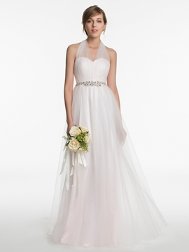 Beautiful Halter A Line Bridesmaid Dress