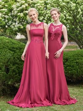 Beautiful Illusion Neckline Long Bridesmaid Dress