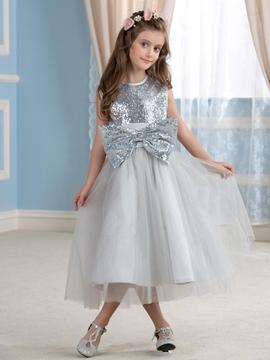 Beautiful Sequins Bowknot Flower Girl Dress