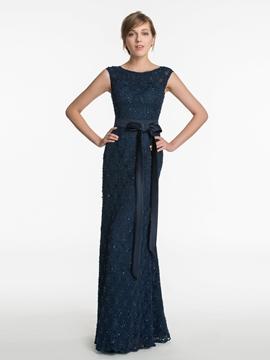 Beautiful Sheath Long Lace Bridesmaid Dress