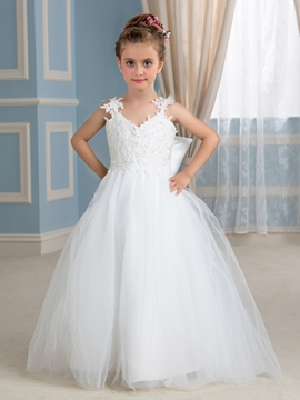 Beautiful Spaghetti Straps Bowknot Tulle Flower Girl Dress