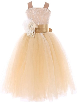 Beautiful Straps A Line Flower Girl Dress