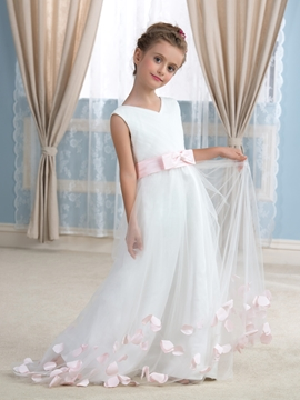 Beautiful V Neck Flower Girl Dress