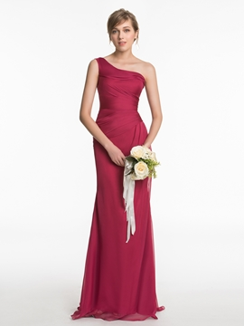 Bridesmaid Dress One Shoulder Sheath Long