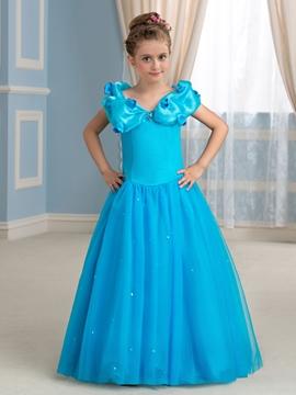 Charming A line Floor Length Princess Floor Girl Dress