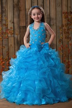 Charming A-line Halter Floor-length Ruffles Beaded Flower Girl Dress