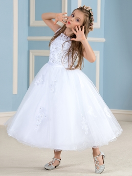 Charming Appliques Flower Girl Dress