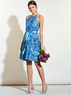 Charming Halter Knee Length Bridesmaid Dress