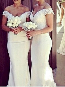 Charming Off The Shoulder Lace Mermaid Bridesmaid Dress