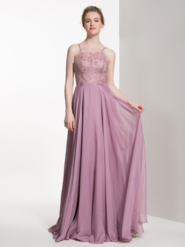 Charming Spaghetti Straps A Line Long Bridesmaid Dress