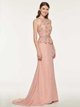 Chiifon Mermaid Lace Bridesmaid Dress