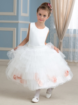 Classical Jewel A Line Tea Length Flower Girl Dress
