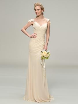Classy V-Neck Cap Sleeve Sheath Long Bridesmaid Dress