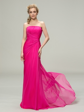 Concise Ruched Strapless Sheath Long Bridesmaid Dress