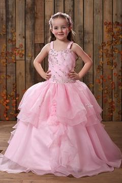 Cute Ball Gown Floor-length Ruffling Straps Flower Girl Dress
