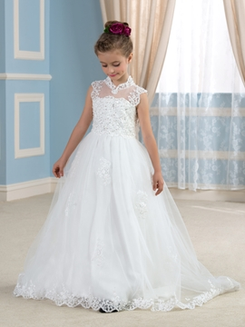Cute High Neck Appliques Flower Girl Dress