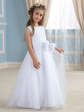 Cute Jewel A Line Lace Bowknot Flowers Girl Dress